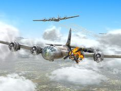 Painting of a B-29 Superfortress bomber limping back home during World War II.