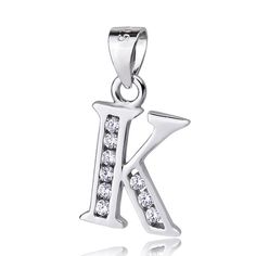 """Sterling Silver Cubic Zirconia Initial Letter K Pendant Necklace 18"""" 