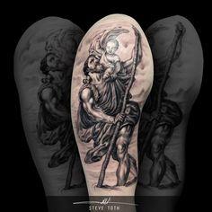 St Christopher Tattoo. www.monumentalinkandbeauty.co.uk www.facebook.com/monumentalink