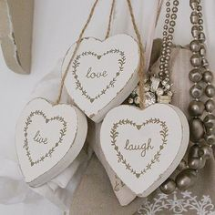 LIVE LAUGH LOVE THREE HANGING WOODEN HEARTS MAKE A GREAT GIFT OR WEDDING FAVOURS