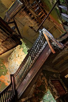 A crumbling staircase at the Bethlehem Steel plant in Lackawanna, New York.