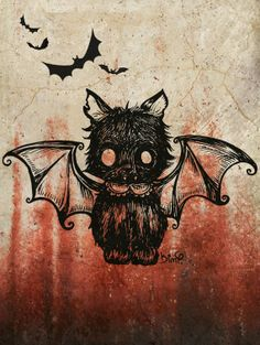 Bat Kitty by MoonlitArtShop on Etsy, $10.00