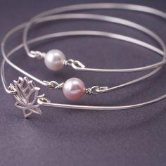 Silver Lotus and 2 Pearls Bangle Set