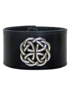 """Celtic Round Medallion 1 1/2"""" Cuff by Lucky Dog Leather (Black) #InkedShop #cuff #leather #celtic"""
