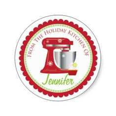 'From the Holiday kitchen of' kitchenAid Baking label Stickers. Customize with your name perfect addition to your holiday wrapping. Use ZAZBLACKDEAL to get off Christmas Stickers, Christmas Photo Cards, Christmas Gifts, Xmas, Christmas Ideas, Christmas Recipes, Label Stickers, Cute Stickers, Holiday Appetizers