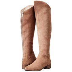 Dolce Vita Meris Women's Zip Boots, Taupe ($113) ❤ liked on Polyvore featuring shoes, boots, over-the-knee boots, taupe, over knee boots, thigh high boots, taupe boots, above the knee boots and zip boots
