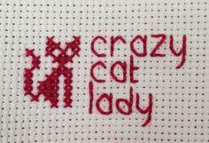Crazy cat lady cross stitch by TinyCrafters on Etsy