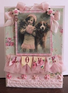 vintage shabby chic card with girl and dog