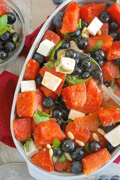Watermelon Summer Salad with Basil and Blueberries http://ciaochowbambina.com