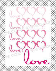 Ombre LOVE  Hearts Digital Printable Art by EyeCandyEventDetails, $8.00