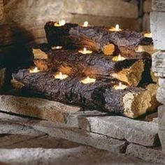 Log candles for the fireplace for those with non-working fireplace...there's a drill bit that will drill holes for candles..
