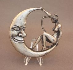 1979 Crescent Moon & Nude Woman belt buckle by Bergamot Brass Works available at our eBay store! $25