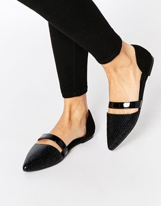 Buy ASOS LISBON Ballet Flats at ASOS. Get the latest trends with ASOS now. Black Slip On Shoes, Black Flats Shoes, New Shoes, Flat Shoes, Crazy Shoes, Me Too Shoes, Pointed Flats, Womens Flats, Ballet Flats