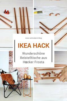 Ikea Hack mit dem Frosta Hocker. Wie du tolle Kupfer Beistelltische aus dem Frosta machst zeigen wir dir in unserem DIY Video.