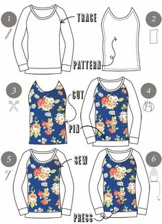Über Chic for Cheap: Tutorial: Floral Panel Top http://www.uberchicforcheap.com/2014/02/tutorial-floral-panel-top.html#more