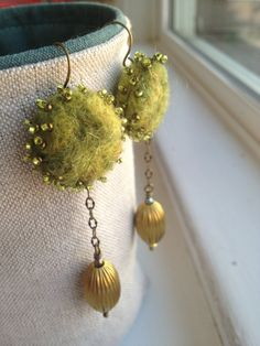 Needle Felted Earrings Leaf Green Beaded Orbs by ValsArtStudio, $68.00