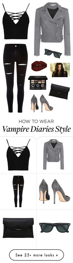 """""""Untitled #1087"""" by francyrizzo on Polyvore featuring Boohoo, IRO, River Island, Gianvito Rossi, Bobbi Brown Cosmetics, Ray-Ban and Givenchy"""