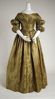 """dress, ca. 1836. hand written label: """"Dress Pa bought for Mother & had made in Philadelphia about the year 1836"""""""