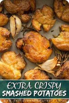Here I'll show you the game changing method to getting EXTRA crispy smashed potatoes. Roasted with garlic and rosemary, say hello to your new roast potato! potato al horno asadas fritas recetas diet diet plan diet recipes recipes Potato Dishes, Veggie Dishes, Vegetable Recipes, Vegetarian Recipes, Chicken Recipes, Cooking Recipes, Healthy Recipes, Cooking Tips, Potato Meals