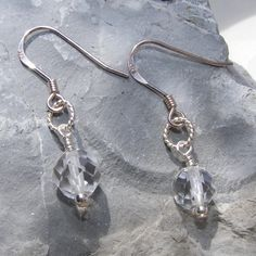 Earrings in Sterling silver featuring cut Rock Crystal Quartz gemstone beads £12.00