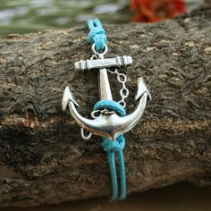 Anchor bracelet-adjustable turquoise anchor charm bracelet, anchor bracelet for boyfriend - im charmed! ;)