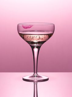 Close Up Of Pink Champagne In Glass With Lipstick Stain Print By Andy Roberts