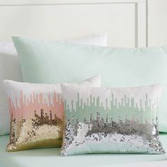 PB Teen Sequin Ikat Pillow Cover, 12X16, Mint at Pottery Barn Teen -... ($30) ❤ liked on Polyvore featuring home, bed & bath, bedding, sequin bedding, white shams, white bedding, white pillow shams and geometric bedding