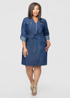 Drawstring Zip Front Denim Dress-Plus Size Dresses-Ashley Stewart Jeans Gown, Demin Dress, Denim Dresses, African Lace Dresses, African Fashion Dresses, Plus Size Dresses, Plus Size Outfits, Denim Fashion, Fashion Outfits