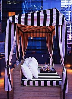 Rooftop cabana at The Night Hotel in NYC. #stripes #blackandwhite #city