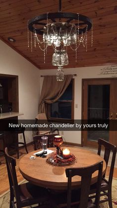 Mason jar wagon wheel chandelier