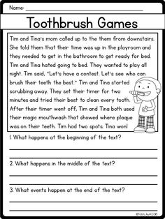 Reading Passage for Structure of a Story 1st Grade Reading Worksheets, First Grade Reading Comprehension, Reading Comprehension Worksheets, Reading Fluency, Reading Intervention, Reading Passages, Kindergarten Reading, Comprehension Strategies, Reading Response