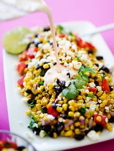 Hypoallergenic Pet Dog Food Items Diet Program This Mexican Street Corn Salad Is A Healthy, Simple Take On Elote, The Delicious Mexican Street Vendor Version Of Corn On The Cob Corn Salad Recipes, Salad Recipes For Dinner, Corn Salads, Easy Salads, Make Ahead Salads, Carrot Recipes, Broccoli Recipes, Sausage Recipes, Casserole Recipes