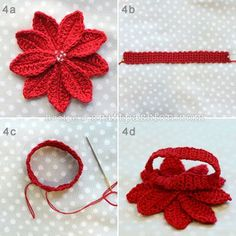 crochet-poinsettia-4...This is poinsettia napkin ring.Wouldn't your Christmas table be beautiful with this flower at every place setting...free pattern!