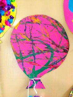Miten tehdään: Oppilaat leikkasivat kartongista ilmapallon. Pallo kiinnitettiin kehyesti sinitarralla laakean astian pohjalle. Astian kulmiin laitettiin oppilaan valitsemia pullovärejä ja kaksi marmorikuulaa. Astiaa kallistelemalla oppilaat kuvioivat marmorikuulilla ilmapallonsa.