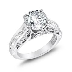 Fancy Engagement Ring Solitare Bridal CZ Sterling Silver (2.40 Carat) Jewel Roses. $36.00