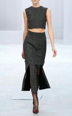 Grey Wool Skirt by Barbara Casasola for Preorder on Moda Operandi