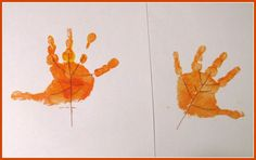 October Morning: Handprint Art {leaves}