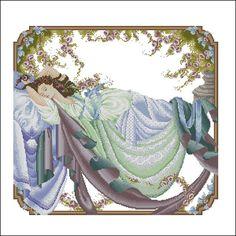 0 point de croix femme dormant - cross stitch lady sleeping