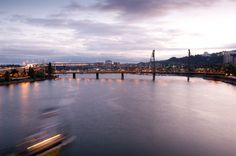 The Willamette River from the Morrison Bridge at dusk in Portland.