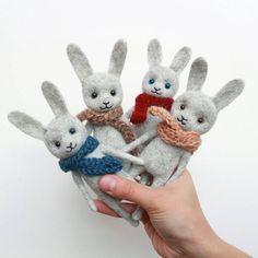 My lovely felted hares. They seem to be the same, but are different. Everybody have their own character! / Мои любимые шерстяные зайчики! Особенные персонажи, с ними будет связан целый период творчества. И вроде бы одинаковые они, а с другой стороны все разные. Каждый имеет свой собственный характер. #screamroad_handmade #needlefelt #felting #felttoy #arttoy #feltedanimals #hare #needlefelting #bunny