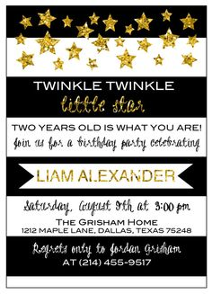 This is the invitation that Anna Grisham created on the fly for Liam's upcoming second birthday party! So talented!   Twinkle Twinkle Little Star Birthday by CaptivatedbyAnna on Etsy