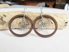 Hoop Earrings, Wood Hoop Earrings, Lotus Flower Earrings, Sterling Silver Earrings, Meaningful Jewelry, Handmade Earrings, Dangle Earrings by giveitengraved on Etsy