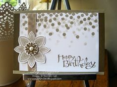 Stampin' Up! ... handmade birthday card by UK Demonstrator Pegcraftalot ... monochromatic taupes ... luv the stamping off of the dots ...