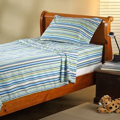 @Overstock - This sheet set features a soft, 100-percent microfiber composition for easy care and extra comfort. The children's sheet set has a striped design.http://www.overstock.com/Bedding-Bath/Expressions-Microfiber-Stripe-Childrens-Twin-XL-Sheet-Set/6602770/product.html?CID=214117 $22.49