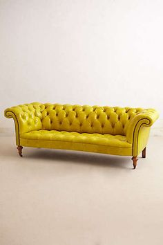 Citrine Chesterfield Sofa in Chartreuse at Anthtropologie