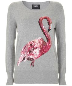 Grey Sequin Flamingo Jumper, Markus Lupfer discovered on Fantasy Shopper Diy Fashion, Ideias Fashion, Womens Fashion, Flamingo Shirt, Flamingo Top, Style Japonais, Pink Bird, Markus Lupfer, Pink Flamingos