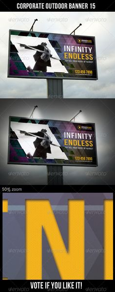 Corporate Outdoor Banner 15  #GraphicRiver         Highly editable PSD outdoor banner, very easily customise to make it your own in seconds!  The Pack included:   PSD file  High Quality and Details  Easy to Customise  CMYK, 150 dpi  120×60 in  Print: 122×62 in  Bleed 1 inch (all side)  18300×9300 px  Print Ready  Smart object placeholder  Editable shape Logo included  Preview Image not included  Read me file (included instrucions)   Fonts Required:   Myriad –…