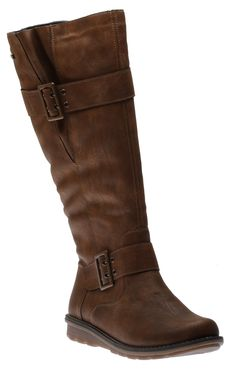 This casual knee-length boot features a smooth synthetic upper with buckle detailing at the ankle and upper shaft. A stretch panel at the upper back ensure an adjustable and comfortable fit for calves. A full-length side zipper provides an easy on-and-off Riding Boots, Calves, Ankle, Casual, Shoes, Fashion, Moda, Baby Cows, Zapatos