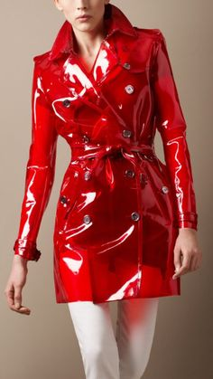 Slippery red latex trench will excite all sorts of adventures - wear one and enjoy the ride.