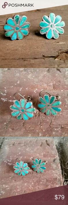 Native American Sterling Silver Turquoise Earrings Really cool authentic handmade Native American earrings these are the old screw Back Time dating back to the 1940s or earlier Vintage Jewelry Earrings